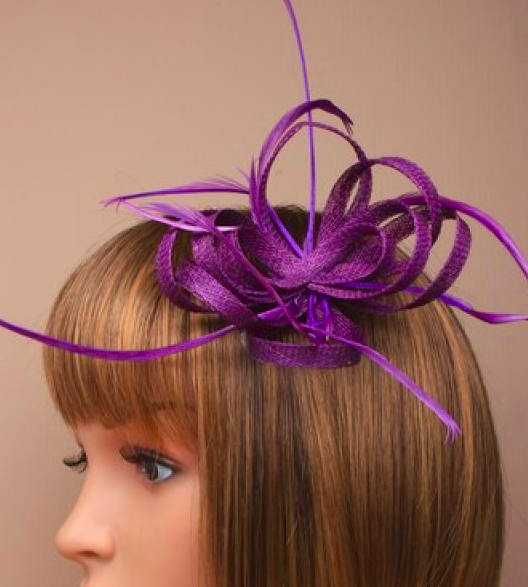 Purple Looped Sinamay and Feather Fascinator Corsage Beak Clip Brooch Pin 3