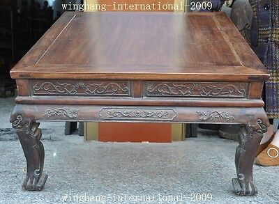 Old China Huanghuali Wood Hand-Carved Dragon phoenix Statue Ancient Tables Desk 11