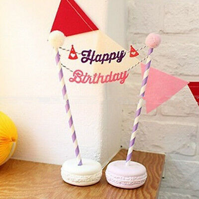 Happy Birthday Cake Cupcake Bunting Banner Flag Food Topper BabyShower Party 3TL 3