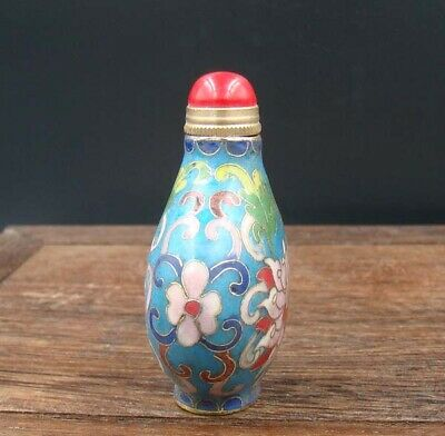 Collectible 100% Handmade Painting Copper Cloisonne Enamel Snuff Bottles 4