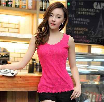 New Womens Floral Lace Wave Vest Tank Top Ladies Stunning T-shirt Blouse
