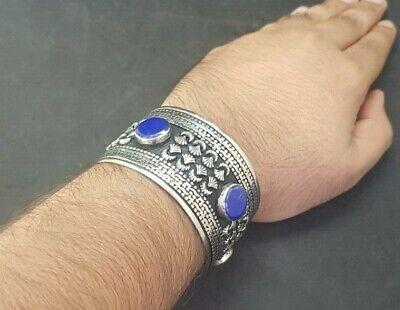 Wonderful Silver plated Afgani Adjustable Beautiful Bangle With Lapis Stone #W12 9