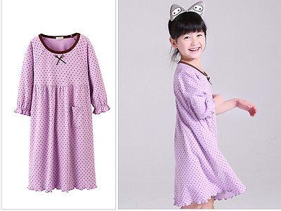 Girls Kids Children Pyjamas long sleeve Nightwear Cotton Night Dress Nightie 10