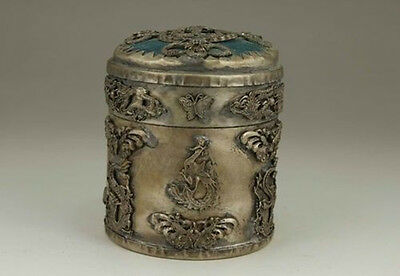 Chinese Old Tibet Silver Handwork Inlay Jade Dragon Phoenix Tobacco Box 0 5