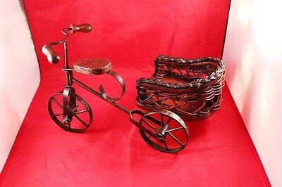 "Vintage 12"" Wrought Iron & Wood Bicycle/Tricycle Stand Holder or Display Decor 11"