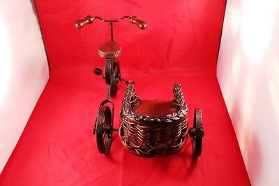 """Vintage 12"""" Wrought Iron & Wood Bicycle/Tricycle Stand Holder or Display Decor 3"""