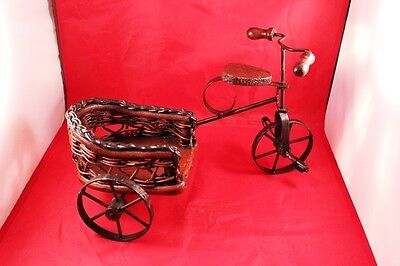 """Vintage 12"""" Wrought Iron & Wood Bicycle/Tricycle Stand Holder or Display Decor 2"""
