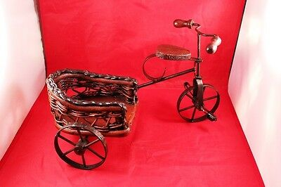 """Vintage 12"""" Wrought Iron & Wood Bicycle/Tricycle Stand Holder or Display Decor 7"""
