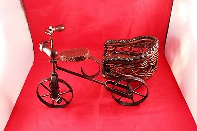 "Vintage 12"" Wrought Iron & Wood Bicycle/Tricycle Stand Holder or Display Decor 12"