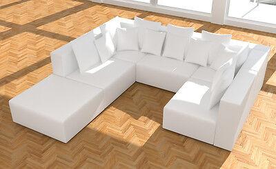 Modulare Sofa Garnitur Couch Bettsofa Wohnlandschaft Leder Look