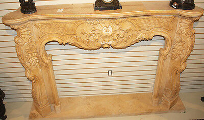 Massive French Carved Italian Marble Fireplace Mantel Mantle Surround 1940s WOW! 11