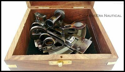 Nautical Antique Maritime Brass Sextant With Wooden Box Vintage Collectible 5'' 4