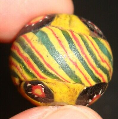 Ancient Islamic Eastern Beautiful Striped  Mosaic Glass Bead Art Pendant 616 3
