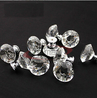 10 zinc alloy clear glass crystal sparkle cabinet drawer door pulls knobs handle 7
