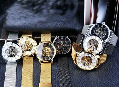 Men Skeleton Mechanical Wrist Watch Stainless Steel Luxury Steampunk Wristwatch 5