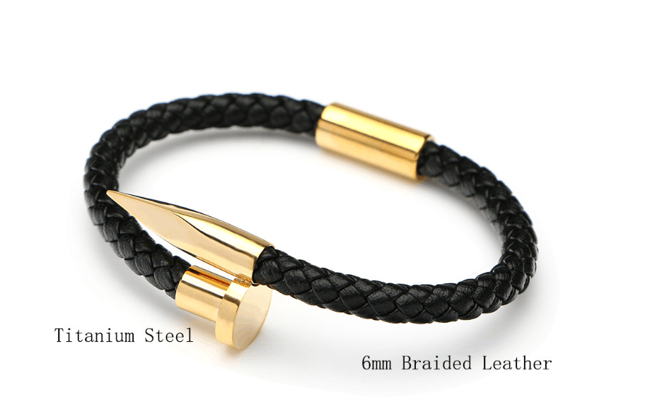 "8"" Mens Womens Stainless Steel Nail Bangle Black Braided Leather Bracelet + Box 3"