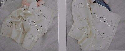 KNITTING PATTERN 2 LOVELY DK BABY BLANKETS//SHAWLS TEXTURED /& DIAMOND PATTERN