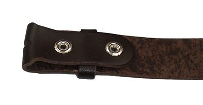 """New Mens Real Leather Snap On Belts Black Brown White No Buckle Sizes 28"""" - 52"""" 5"""