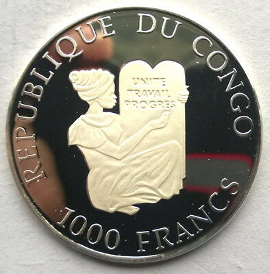 Congo 1993 Herzogin Cecilie 1000 Francs Silver Coin,Proof 2