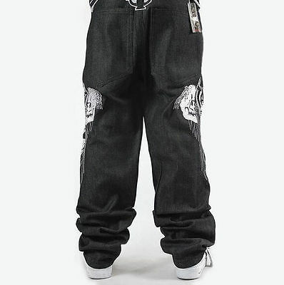 buy popular e18f1 7cccd UOMO HIP HOP Jeans Denim Ricamo Teschio Scheletro Pantaloni Larghi