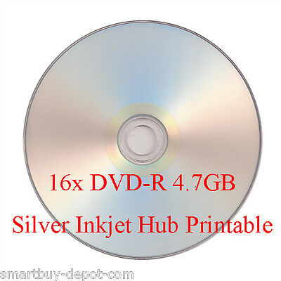 100 Pcs SmartBuy DVD-R DVDR 16X 4.7GB Silver Inkjet Hub Printable Record Disc