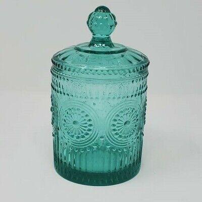 NEW Pioneer Woman Adeline Embossed Glass Teal Mini Jar