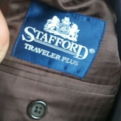 Stafford Traveler Plus 38R 2 Button Brown Twill  Suit Blazer Sports Coat 4