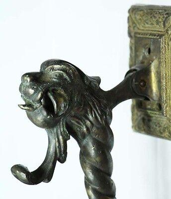 Rare old bronze monster head myth animal door knocker 8' / 20cm 6