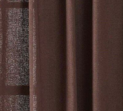 "84"" Long Burlap Chocolate Brown Cotton Rustic Country Window Curtains Tie Backs 4"