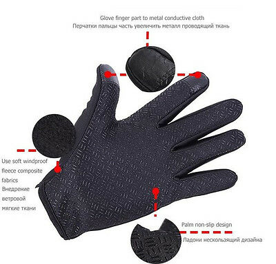 Wasserdicht Thermo Winter Handschuhe Finger Touch klappbar Sport Warm Gloves -DE