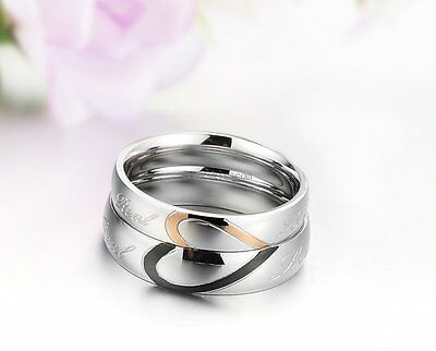 Couple Love Heart Stainless Steel Comfort Wedding Band Engagement Promise Ring 8