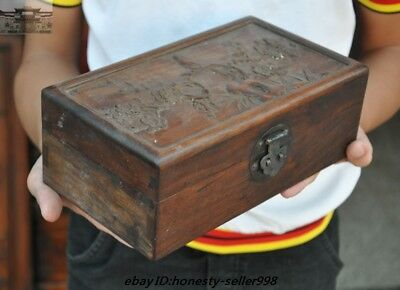 Chinese old Huanghuali wood Carving Plum blossom bird statue storage box boxes 2