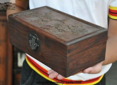 Chinese old Huanghuali wood Carving Plum blossom bird statue storage box boxes 4
