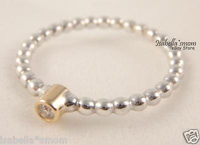 0038cb51f ... EVENING STAR Authentic PANDORA Sterling Silver/DIAMOND/14k GOLD Ring  6/52 NEW