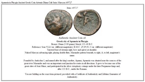 Apameia in Phrygia Ancient Greek Coin Artemis Diana Cult Satyr Marsyas i49727 3