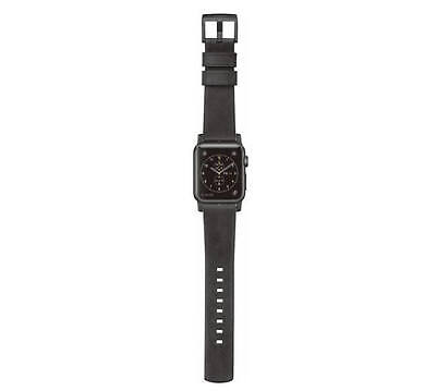 Nomad Leather Watch Strap for Apple Watch 42mm Slate Gray Black Hardware - UD
