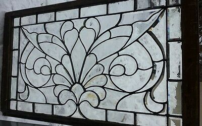ANTIQUE leaded beveled glass window NICE!!! 6