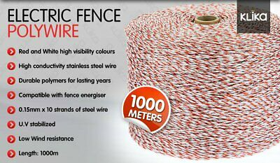 1000M Roll Polywire Electric Fence Energiser Stainless Steel Rope Poly Insulator 2