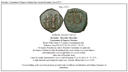 Heraclius, Constantine & Empress Martina  Rare Ancient Byzantine Coin  i23873 2