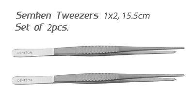 SEMKEN TWEEZERS 1x2 , 15.5 cm SURGICAL DENTAL VET TISSUE PLIERS SET OF 2 PIECES 3