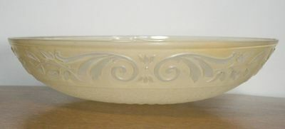Large Antique ART DECO Round Ceiling Lamp Shade. Molded Glass Chandelier RARE 7