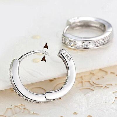 Women Silver Round Crystal Heart Hoop Ear Stud Earrings Wedding Bridal Jewelry 4