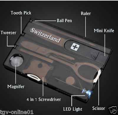 Multi Tool Credit Card Size Kit LED Functional Knife 12 in 1 Switzerland Light