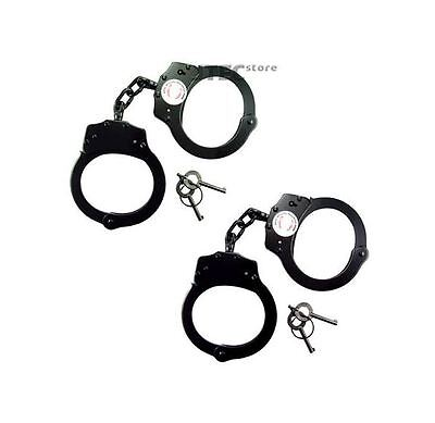 2PC Police Handcuffs BLACK STEEL Double Lock AUTHENTIC Hand Cuffs w/Keys REAL