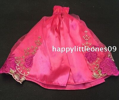 Hot Pink Embroidered Barbie Doll Wedding Party Evening Dress/Clothes/Outfit New 4