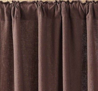 "84"" Long Burlap Chocolate Brown Cotton Rustic Country Window Curtains Tie Backs 6"