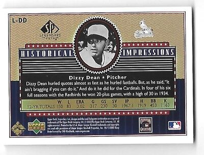 DIZZY DEAN 2003 SP Legendary Cuts Historical Impressions Gold patch /75 2