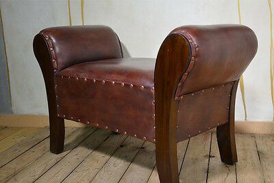 Chaise Lounge Seater Chair Bench Ottoman Pouffe Stool Brown Teak Colonial 5