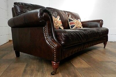 PAIR of VICTORIAN STYLE CIGAR BROWN STUD LEATHER CHESTERFIELD 3 SEATER SOFAS 5