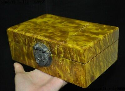 Old China palace Gold-rimmed nanmu Wood carved statue Jewelry Box storage boxes 2